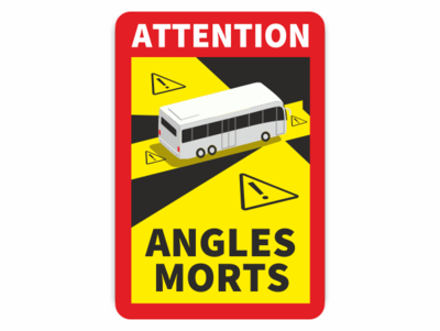 gelb, schwarz, mit Bus und ANGLES MORTS, roter Rahmen