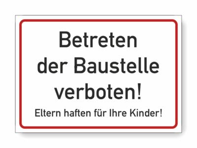 Baustelle Betreten verboten!, schwarze schrift, roter rahmen