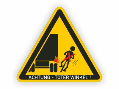 LKW kippender Radfahrer, Warndreieck