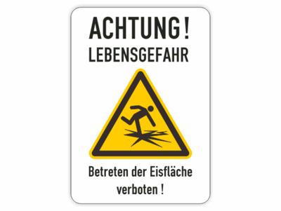 gelbes Dreieck, Achtung Lebensgefah Eisfläche betreten verboten