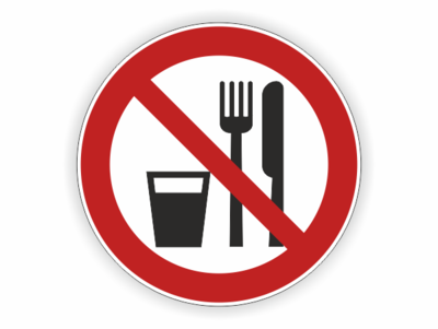 Messer und Gabel, Becher verboten