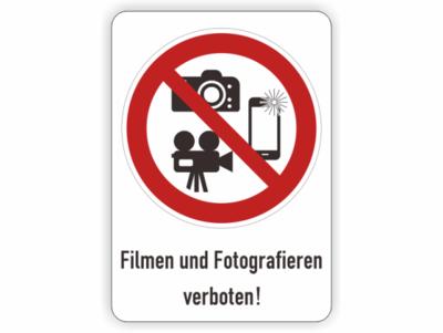 Filmen und Fotografieren verboten, Verbotszeichen mit Kameras und Handy und Text