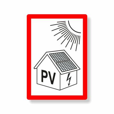 photovoltaikanlage, Haus, Sonne, roter Rahmen, PV