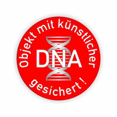 Objekt mit künstlicher DNA gesichert, Helix auf rotem Grund