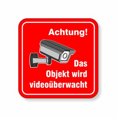 Das Objekt wird videoüberwacht, rot mit Kamera