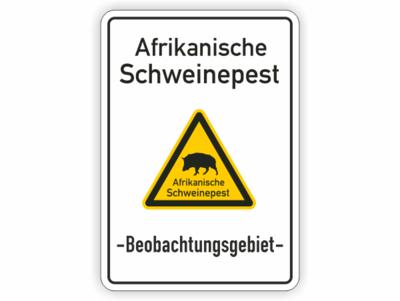 Text, Schweinepest, Beobachtungsgebiet, Wildschwein auf gelben Dreieck