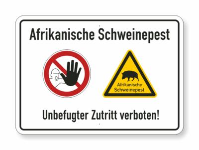 Text, Schweinepest, Zutritt verboten, zwei Symbole