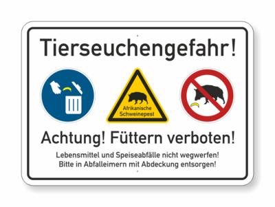 Text, Tierseuchengefahr- füttern verboten, drei Symbole