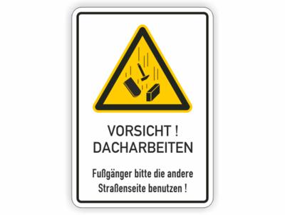 Dacharbeiten, gelbes Warnzeichen mit herabfallenden Gegenständen