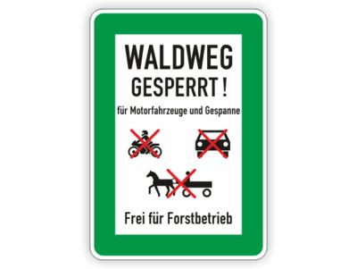 Waldweg gesperrt! Symbole, Text, grüner Rahmen